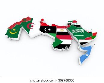 arab league member flags on 3D map