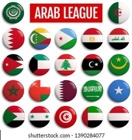 Arab League Member States Flags. 3D illustration.