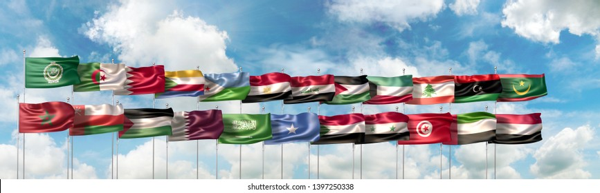 The Arab League official flag and the national flags of the 22 countries member states of the Arab League organization. 3D Illustration rendered in large wide format