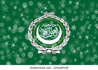 Arab League winter snowflakes flag background.