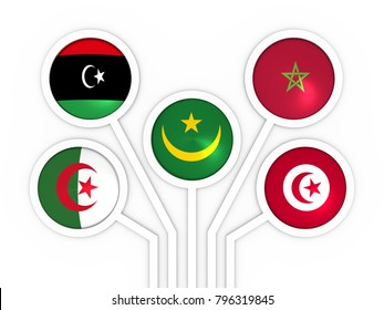 Arab Maghreb Union - association of five national economies members flags. A trade agreement unity among Arab countries of the Maghreb in North Africa. 3D rendering