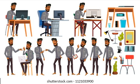 Arab Man Office Worker. Business Set. Islamic. Facial Emotions, Gestures. Animated Elements. Arabic Corporate Businessman Male. Successful Officer, Clerk, Servant Illustration