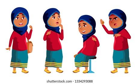 Arab, Muslim Girl Kid Poses Set. High School Child. child, pupil. Active, Joy, Leisure. For Banner Flyer Brochure Design Cartoon Illustration