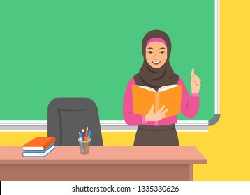 Arab woman teacher in hijab standing with open book at the blackboard in classroom. School class interior. Traditional education concept. Cartoon illustration. Back to school banner.