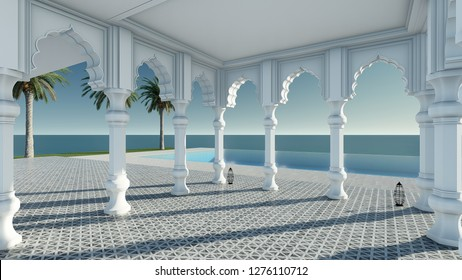 Arabain pavilion sea view 3D render without furniture in classic relax mood