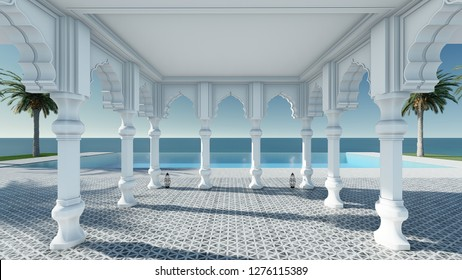 Arabain pavilion sea view 3D render without furniture in classic relax mood from front view