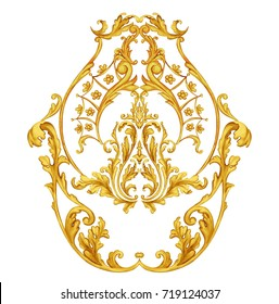 Arabesque with golden scrolls in Baroque style