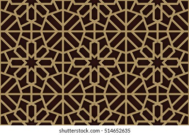 Arabesque Seamless Pattern in Black and Gold