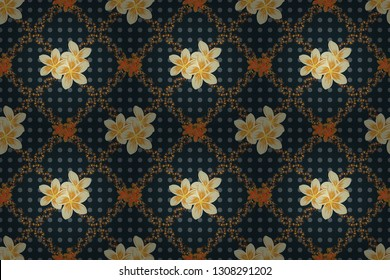 Arabesque. Vintage abstract raster floral seamless pattern in brown, blue and gray colors. Intersecting curved elegant stylized plumeria flowers, leaves and scrolls forming abstract floral ornament.