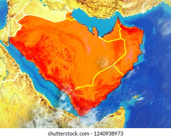 Arabia from space on model of planet Earth with country borders. Extremely fine detail of planet surface and clouds. 3D illustration. Elements of this image furnished by NASA.