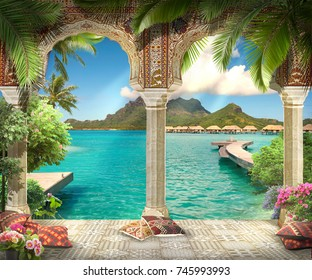 Arabian arch with flowers, plants and sea views