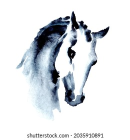Arabian horse head. Watercolor or ink hand painting horse snout. Beautiful hand drawing Japanese style stallion. Equestrian silhouette illustration on white. Equine art by artistic brush stroke