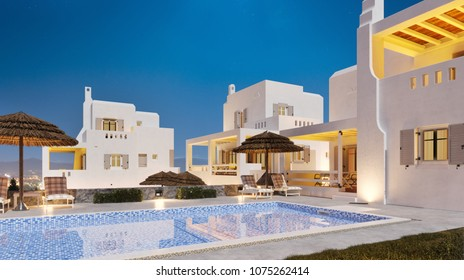 Arabian hotel. Private villa in Dubai. Appartments in arabian style. Traditional Oriental Architecture. Sunset in hotel. Moroccan hotel. 3d illustration