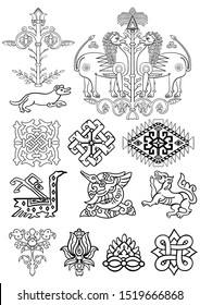 Arabian Islamic ornamental motifs and elements. Set of images of flowers, animals, geometry and abstract  patterns, elements, knots. Simple black and white decor in arabesque style for custom design.