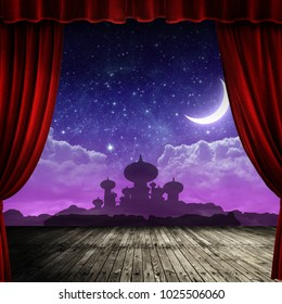 Arabian night backdrop on stage with red curtain