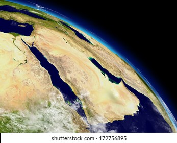 Arabian peninsula on planet Earth viewed from space. Highly detailed planet surface and clouds. Elements of this image furnished by NASA.