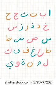 Arabic alphabet for nursery kids room