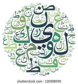 arabic alphabet text cloud in circle shape