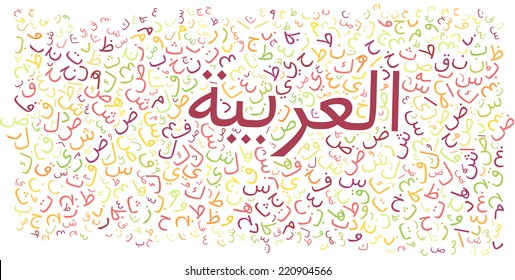 "arabic alphabet texture background - with the word ""arabic"" written in arabic"