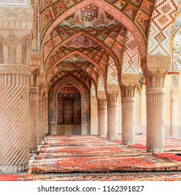 Arabic arches and ornaments in the interior. Moroccan interior. The Nasir ol Molk Mosque. 3d illustration