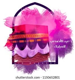 Arabic calligraphy of an eid greeting, happy Eid al adha, Eid Mubarak beautiful greeting card With Gold digital background