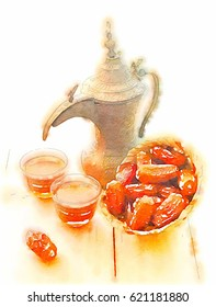 Arabic coffee pot, and dates. Hand painted drawing in water-color. Kahva Dallah and date still life drawing
