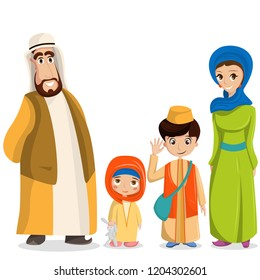 arabic family in national clothes. Parents, children in muslim costumes, islamic clothing. People in hijab, turban, skullcap, robe. Happy arab husband, wife with kids.
