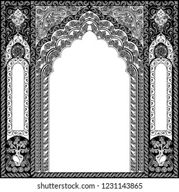 Arabic Floral Arch. Traditional Islamic Background. Mosque High detailed decoration element. Elegance Background with Text input area in a center.