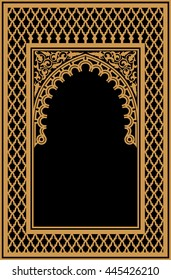 Arabic Floral Arch. Traditional Islamic Background. Mosque decoration element. Elegance Background with Text input area in a center.