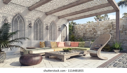 Arabic Home garden exterior and patio 3D Rendering, 3D Illustration