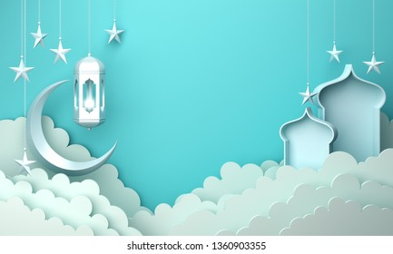 Arabic lantern, cloud, crescent moon star, window on blue pastel background copy space text. Design creative concept for islamic celebration day ramadan kareem or eid al fitr adha. 3d render.