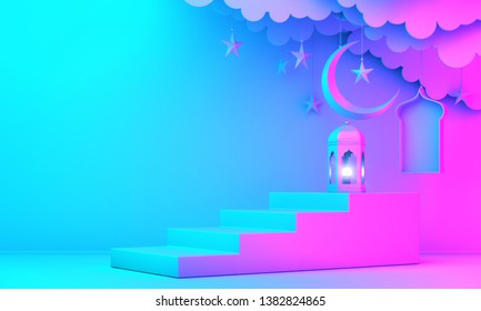 Arabic lantern, cloud, crescent moon star, steps and window on green pastel background. Design creative concept for islamic celebration day ramadan kareem or eid al fitr adha. 3d render.