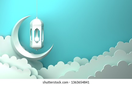 Arabic lantern, cloud, crescent, on blue pastel background copy space text. Design creative concept for islamic celebration day ramadan kareem or eid al fitr adha. 3d render.