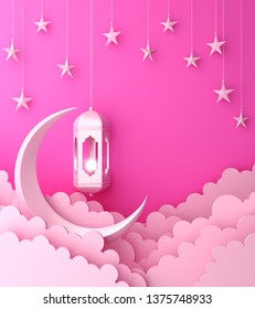 Arabic lantern, cloud, crescent, star on pink pastel background copy space text. Design creative concept for islamic celebration day ramadan kareem or eid al fitr adha. 3d render.