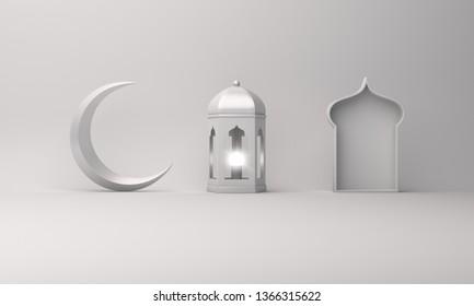 Arabic lantern, crescent moon, window on white background copy space text. Design creative concept for islamic celebration day ramadan kareem or eid al fitr adha. 3d rendering.