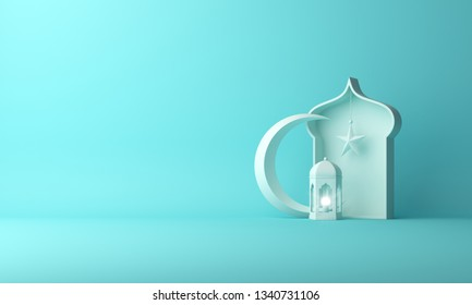Arabic lantern, crescent star, window on blue pastel background copy space text. Design creative concept for islamic celebration day ramadan kareem or eid al fitr adha. 3d rendering.