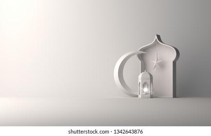 Arabic lantern, crescent star, window on white background copy space text. Design creative concept for islamic celebration day ramadan kareem or eid al fitr adha. 3d rendering illustration.