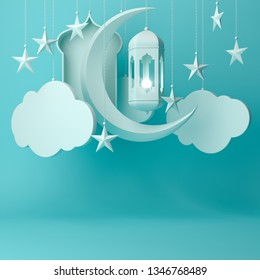 Arabic lantern, hanging cloud, crescent star, window on blue pastel background copy space text. Design creative concept for islamic celebration day ramadan kareem or eid al fitr adha. 3d render.