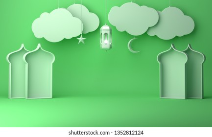 Arabic lantern, hanging cloud, crescent star, window on green pastel background copy space text. Design creative concept for islamic celebration day ramadan kareem or eid al fitr adha. 3d render.