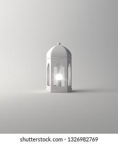 Arabic lantern on white background. Design creative concept of islamic celebration day ramadan kareem or eid al fitr adha. 3d rendering illustration.