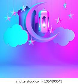 Arabic lantern,cloud, crescent star, window on blue pink gradient background copy space text. Design creative concept for islamic celebration day ramadan kareem or eid al fitr adha. 3d render.