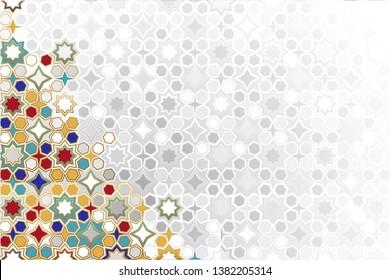 Arabic ornamental Background in color. Islamic ornamental colorful detail of mosaic. arabic, east, indian ornament, persian motif, 3D. simple geometric.Ramadan Kareem gold greeting card, banner.