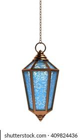 Arabic Ramadan Lantern | 3D Illustration | Copper with Blue Floral Glasses