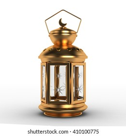 Arabic Ramadan Lantern | 3D Illustration | Golden Metal
