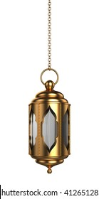 Arabic Ramadan Lantern | 3D Illustration | Hanging Style | GOLD