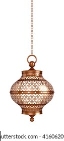 Arabic Ramadan Lantern | 3D Illustration | Round Hanging Lantern in Copper with Arabesque Patterns