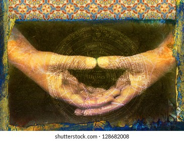 Arabic tiles, mudra, and alchemical mandala in Latin with man (homo) at the center.