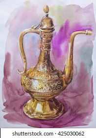 Arabic Traditional Coffee pot (dallah) - Painting