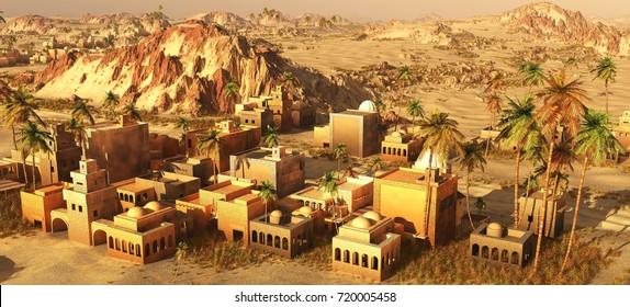 Arabic village on the desert 3d rendering
