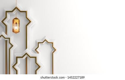Arabic window paper cut, gold hanging lamp on white background. Design creative concept of islamic celebration day ramadan kareem or eid al fitr adha, hajj, hijri, mawlid, muharram. 3D illustration.